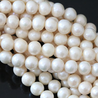 Natural Hot Sale White Freshwater Pearl Beads Approx Round Fashion Diy Loose Jewelry 15inch B1323