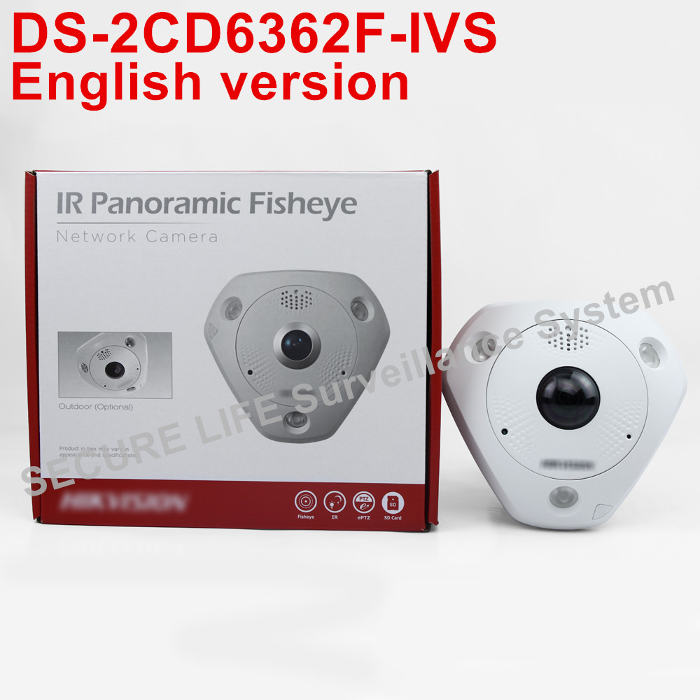 Free shipping English version DS-2CD6362F-IVS  6MP 360 Degree panoramic view IP66 fisheye ip camera CCTV security Camera
