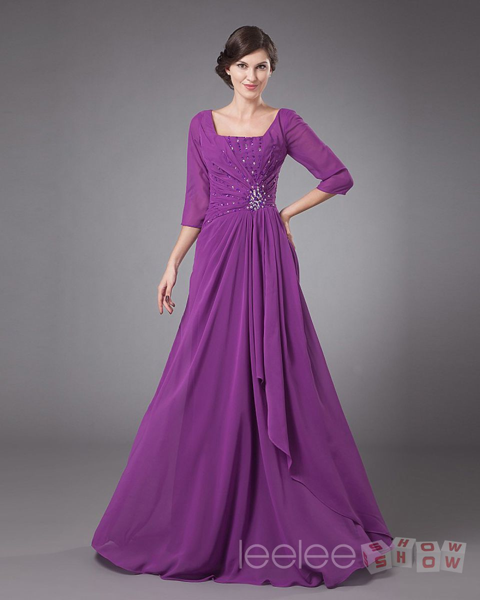 Chiffon Grape Floor Length Half Sleeves Plus Size Mother Of Bride ...