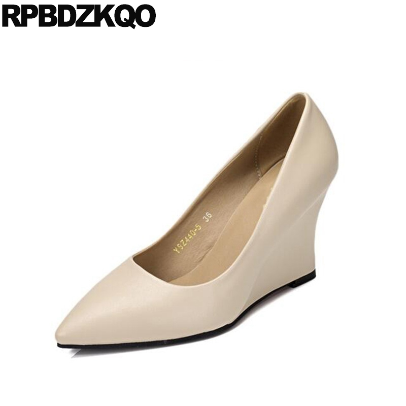 Size 4 34 Pointed Toe High Heels Wedge Beige 3 Inch Office Shoes Ladies  2017 Suede Formal Elegant Peach Women Fashion China 0db12c5f407d