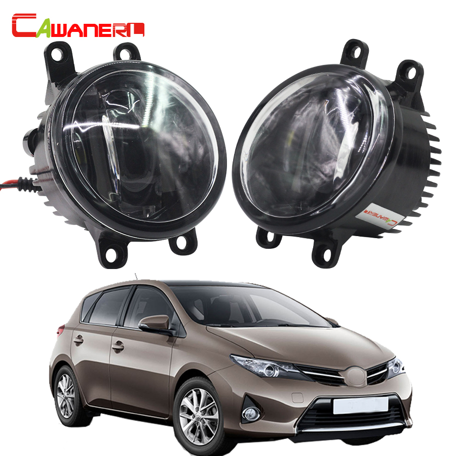 Cawanerl 1 Pair Car Styling Left + Right Fog Light LED Daytime Running Lamp DRL White 12V For Toyota Auris 2007 Onwards cawanerl 1 pair car light led fog lamp drl daytime running light white 12v for subaru trezia hatchback 1 3 1 4d 2011 onwards
