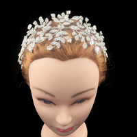 Nankiya Luxury Bridal Hair Jewelry Designer Charming Shining Flower Rhinestone CZ Soft Tiaras Wedding Crown Anniversary NT4514