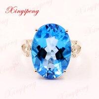 Xinyipeng18K платины инкрустированные Голубой топаз кольцо с камнем женщин с алмазной дизайн красивый