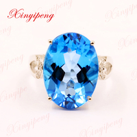 Xinyipeng18K platinum inlaid blue topaz stone ring women with diamond design is beautiful
