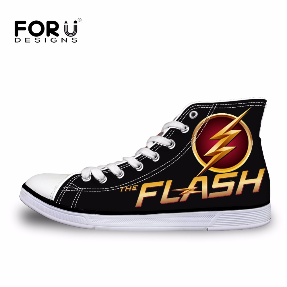 FORUDESIGNS 2017 Spring Men s High Top Canvas Shoes Fashion Super Hero The Flash Man Lace