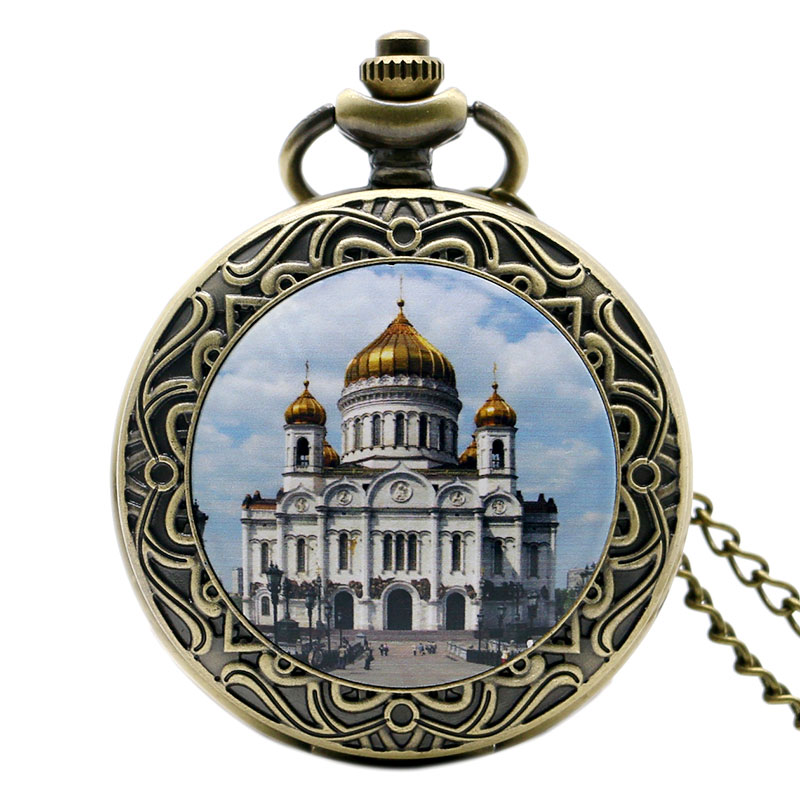 New Arrival Taj Mahal Design Pocket Watch High Quality Bronze Castle Fob Watch With Chain Necklace For Gift bronze quartz pocket watch old antique superman design high quality with necklace chain for gift item free shipping