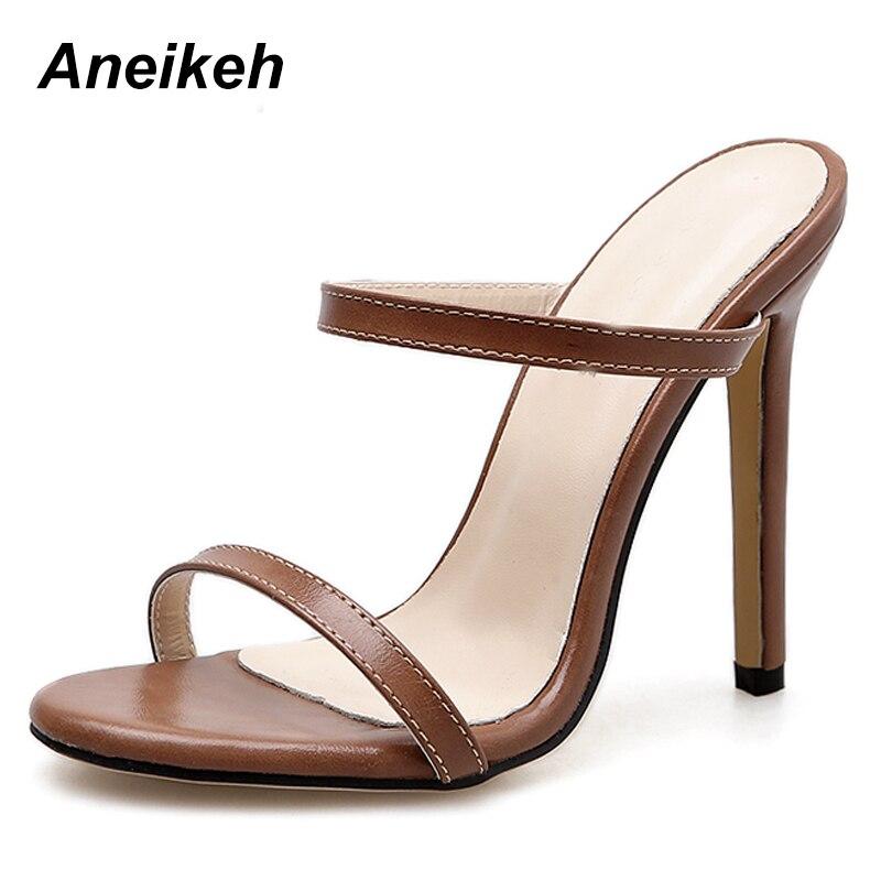 artisanat exquis prix bas profiter du meilleur prix € 13.21 49% de réduction Aneikeh 2019 femmes sandales talon aiguille  chaussures à talons hauts sangle cheville Wrap OL Sexy pompe robe de soirée  ...