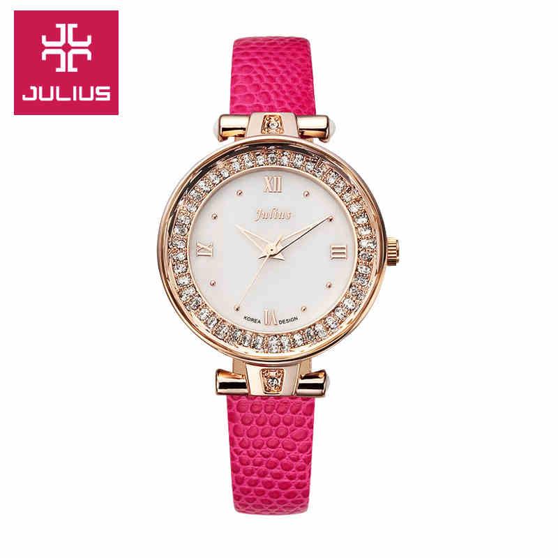 Top Julius Lady Women s Wrist Watch Elegant Rhinestone Shell Fashion Hours Korea Dress Bracelet Leather