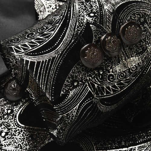 Блейзер Для мужчин модные роскошные Однобортный золото жаккардовые смокинг Блейзер и куртки Для мужчин королевская свадьба пиджак Slim Fit