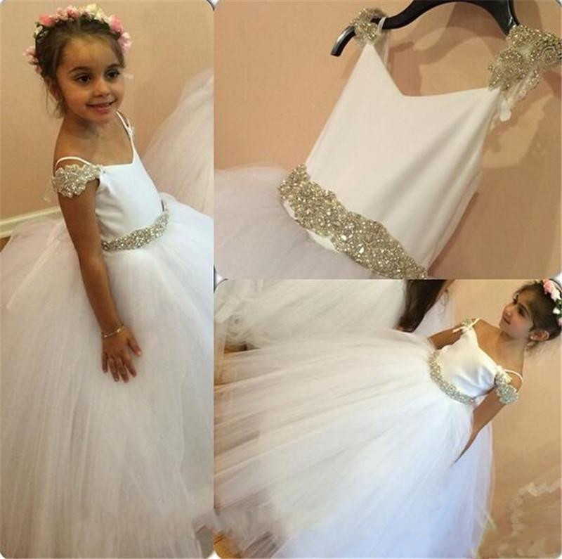 Hot Sale New 2017 Custom White Flower Girls Dresses Tulle With Belt Straps Girls First Communion Gown Pageant Dress hot sale custom cheap pageant dress for little girls lace beaded corset glitz tulle flower girl dresses first communion gown