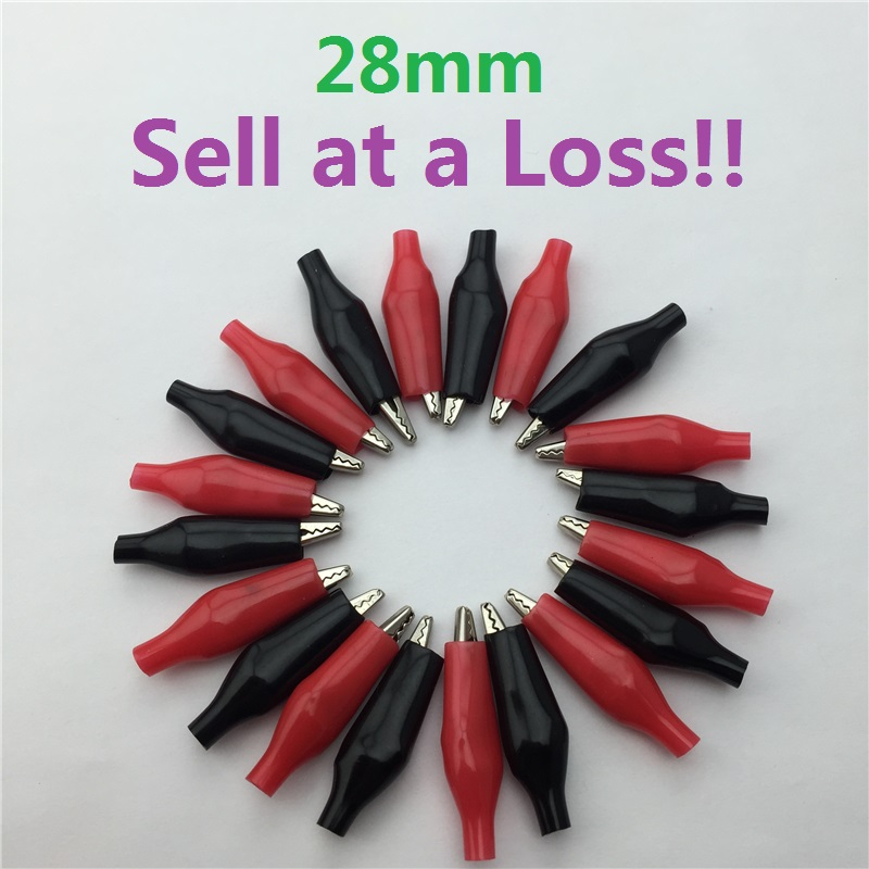 20pcs/lot 28MM Metal Alligator Clip G98 Crocodile Electrical Clamp for Testing Probe Meter Black and Red with Plastic Boot 20 pcs black red soft plastic coated testing probe alligator clips crocodile test clip leads electrical equipment supplies