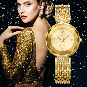ZIVOKO Royal Golden Watch Womens Quartz Analog Clock Crown Strap Diamond Case Design Crystal Top Brand Luxury Ladies Wrist Watch analog watch