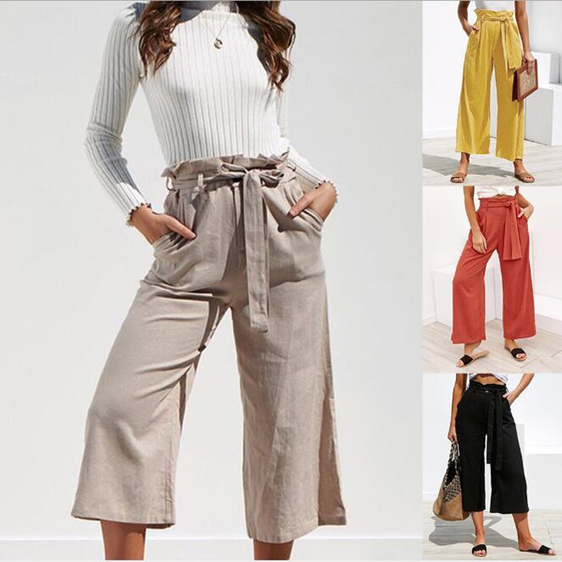 2019 Summer Autumn Women Fashion Solid Color Loose High Waist Crop   Pants   Casual Thin   Wide     Leg     Pants   Female Trousers