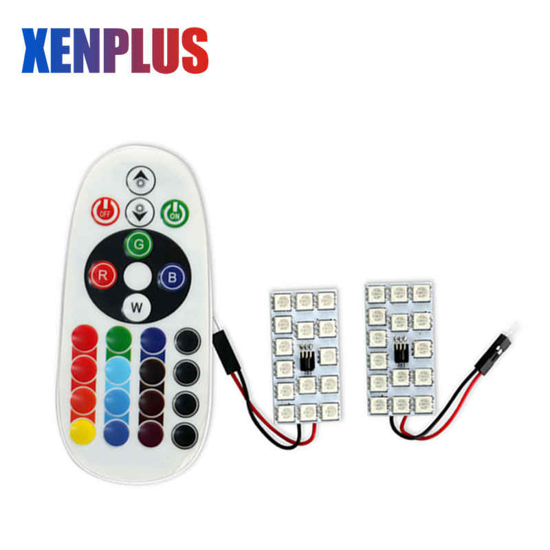 Xenplus Car Interior lights Festoon RGB T10 5050 SMD 15 LED Panel Auto Dome Reading Map Lamp 16 Colors Colorful Remote Control