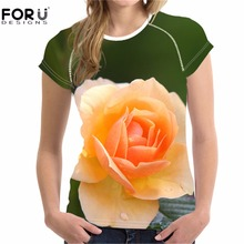 FORUDESIGNS Yellow Flower T-shirt 3D Floral Rose Tee Shirts for Women Girls T Female Short Sleeve Elastic Tees Casual XXL