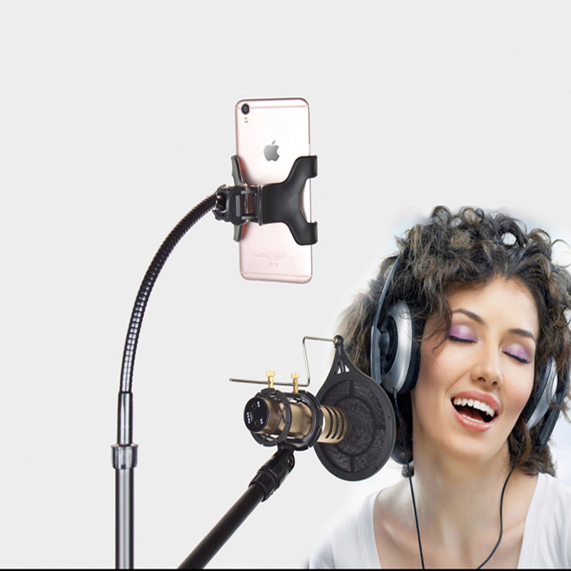 <font><b>Phone</b></font> Clip <font><b>Microphone</b></font> Clip <font><b>Holder</b></font> Filter Windscreen Mask Shield Clip with Boom Arm and Steel Stand Kits For Live Show Recording