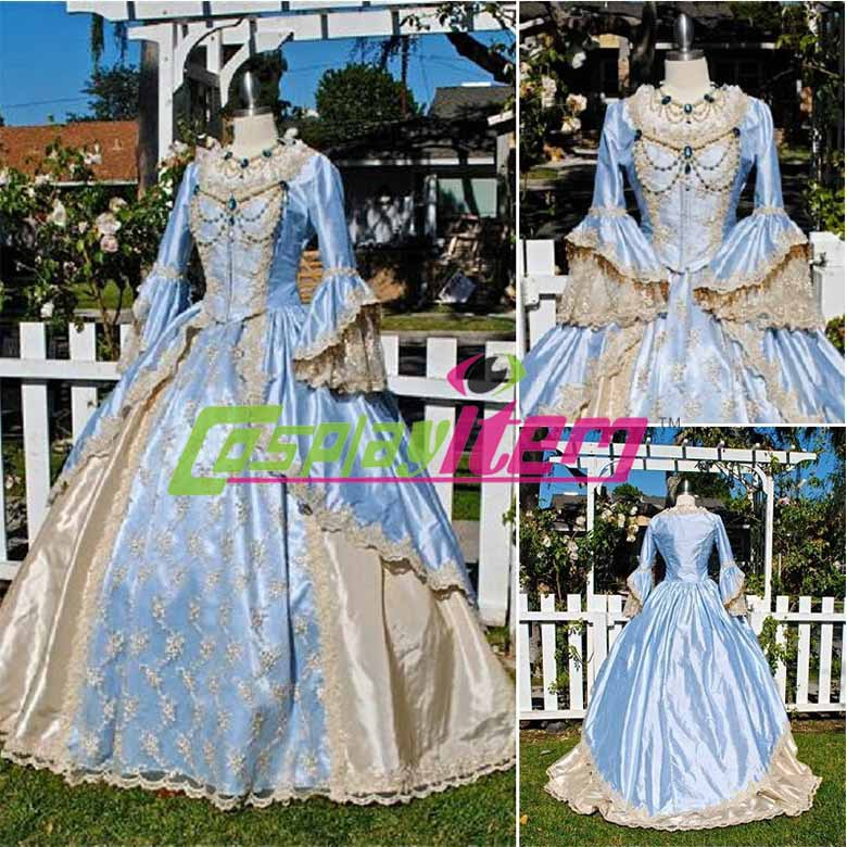 Customized Blue Vintage Gothic Lolita dress victorian Southern belle Civil War medieval Renaissance Size - Cosplayitem COS store