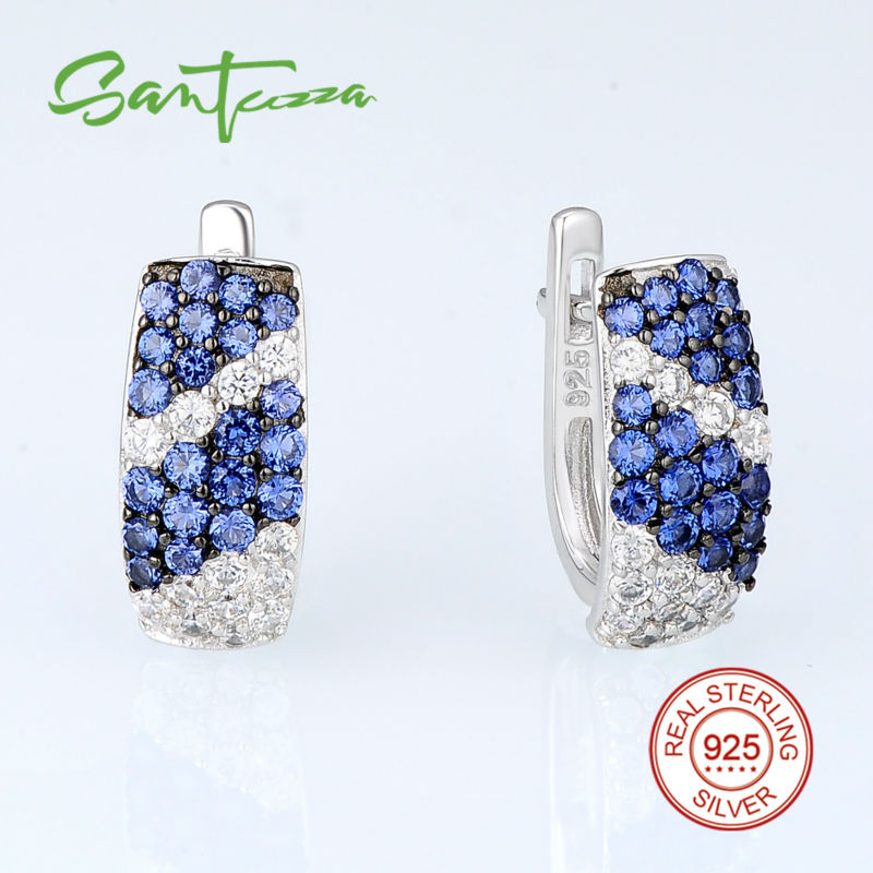 Image 3 - SANTUZZA Jewelry Set For Women Pure 925 Sterling Silver Blue White Cubic Zirconia Ring Earrings Set Exquisite Fashion Jewelry-in Jewelry Sets from Jewelry & Accessories