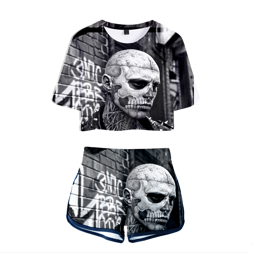 2018 Zombie Boy Rick Genest Fashion Summer Shorts And T-shirts Women Two Piece Sets Funny Print Sexy Crop Top Casual Clothes 2XL