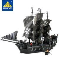 Кирпич блоки пиратский корабль с небольшой лодки 6 кукол парусник с пушкой высокое качество подарок игрушки Детские техника Kazi 87010