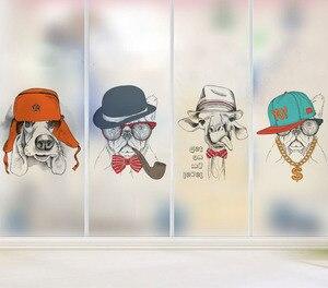Película de vidrio esmerilado electrostático de dibujos animados de animales gatos y perros, pegatinas de ventana de color para cuarto de baño de niños