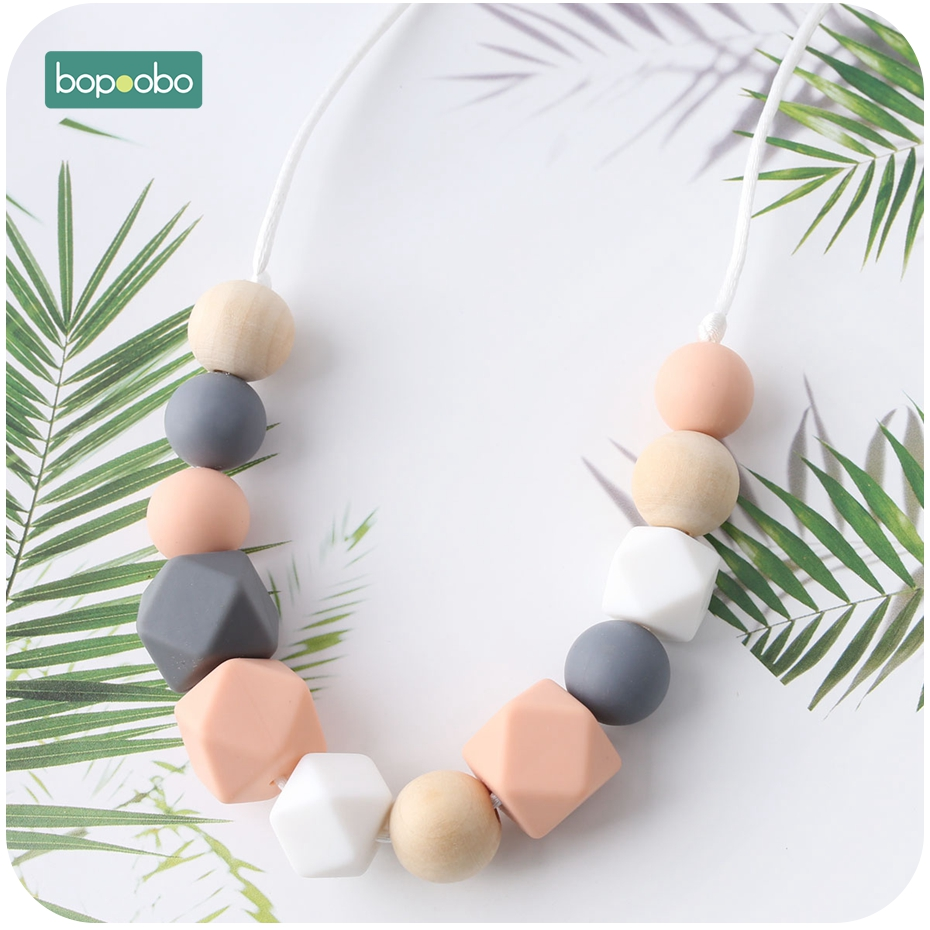 Bopoobo 1pc Baby Teething Silicone Necklace Food Grade Silicone Beads Hexagon Baby Toys Silicone Perle BPA Free Baby Teether