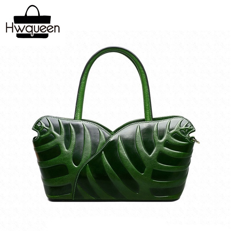 цена на Embossing Leaf Designer Genuine Cow Leather Woman Green Purse Female Top-handle Handbag Three-way Lady Single Cross Shoulder Bag