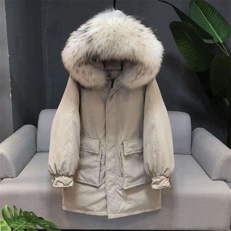 Новая модная женская зимняя пуховая куртка в европейском и американском стиле с большим капюшоном из меха енота, свободная куртка для женщи