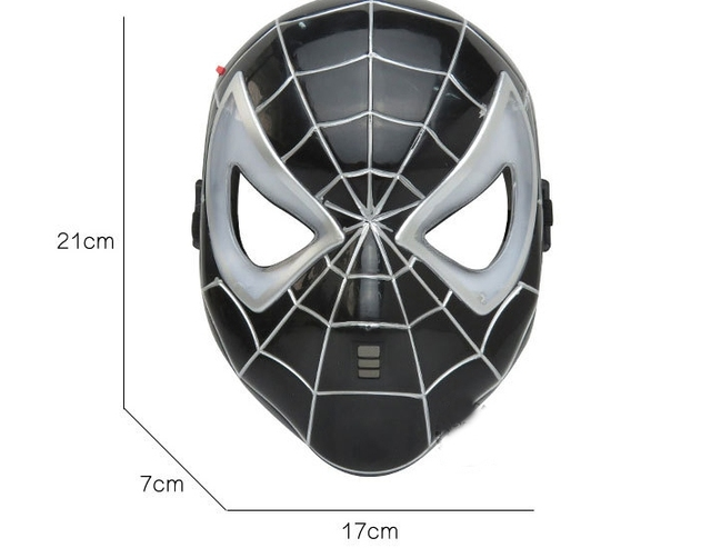 Black spiderman mask children's animation cartoon superman glow with lamp