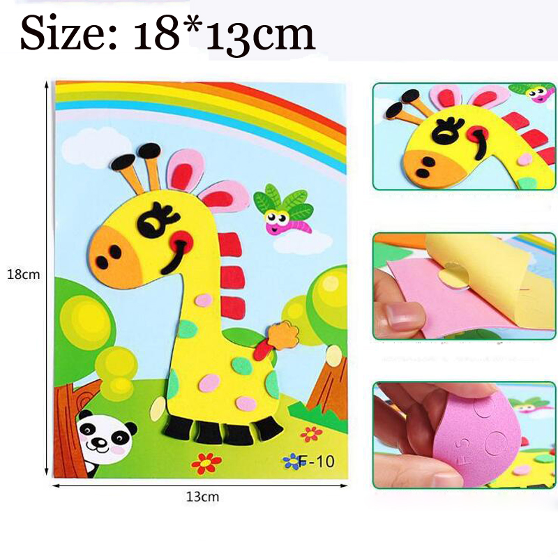 Kids DIY Craft Educational Toys For Children Puzzle 3D EVA Foam Painting Sticker Cartoon Animal Puzzles Toys Baby Handmade Game