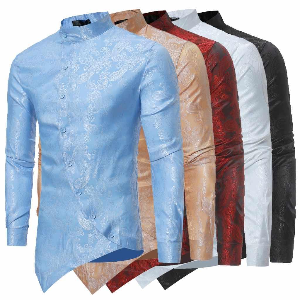 prix le plus bas  nouvelle qualité 2019 nouveauté printemps hommes chemise à manches longues Irraguler chemise  hommes Slim Fit fleur imprimé Muscle t-shirt Camicia Uomo