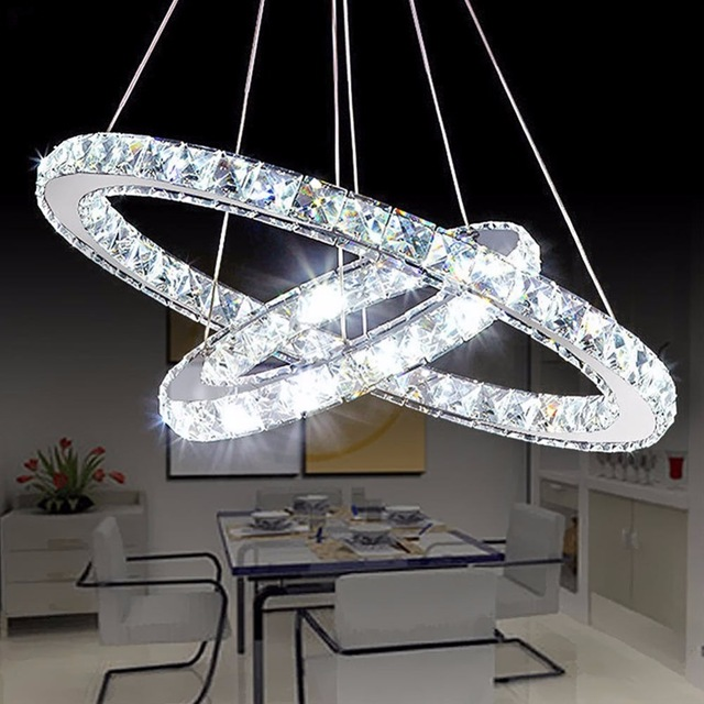 Modern White/ Warm Diamond Ring LED Crystal Pendant Light Circles Hanging Lamp for Foyer Dining Room Lighting Home Decoration