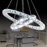 Modern White/ Warm Diamond Ring LED Crystal Pendant Light Circles Hanging Lamp for Foyer Dining Room Lighting Home Decoration