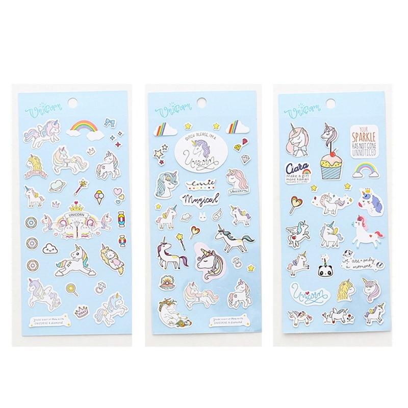 1pcs Kawaii Unicorn Label Stickers Scrapbooking Planner Stickers Diy Diary Album Decoration Label Cartoon Decorative Stationery Memo Pads Office & School Supplies