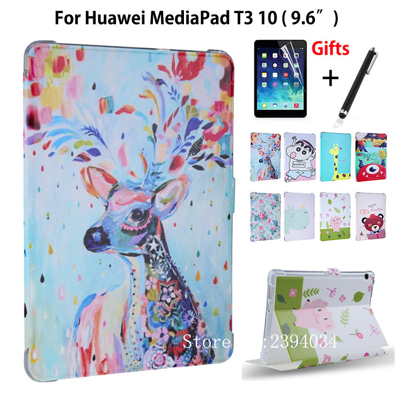 Case For Huawei MediaPad T3 10 AGS-L09 AGS-L03 9.6 inch Smart Cover Funda Cartoon PU for Honor Play Pad 2 9.6 Cover+Film+Pen case for huawei mediapad t3 10 ags l09 ags l03 9 6 inch cover funda tablet for honor play pad 2 9 6 cover case with hander strap