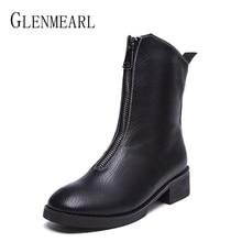 Genuine Leather Women Boots Ankle Winter Shoes Thick Heels Woman Martin Boots Zipper Black Retro Shoes Warm Plush Round Toe DE