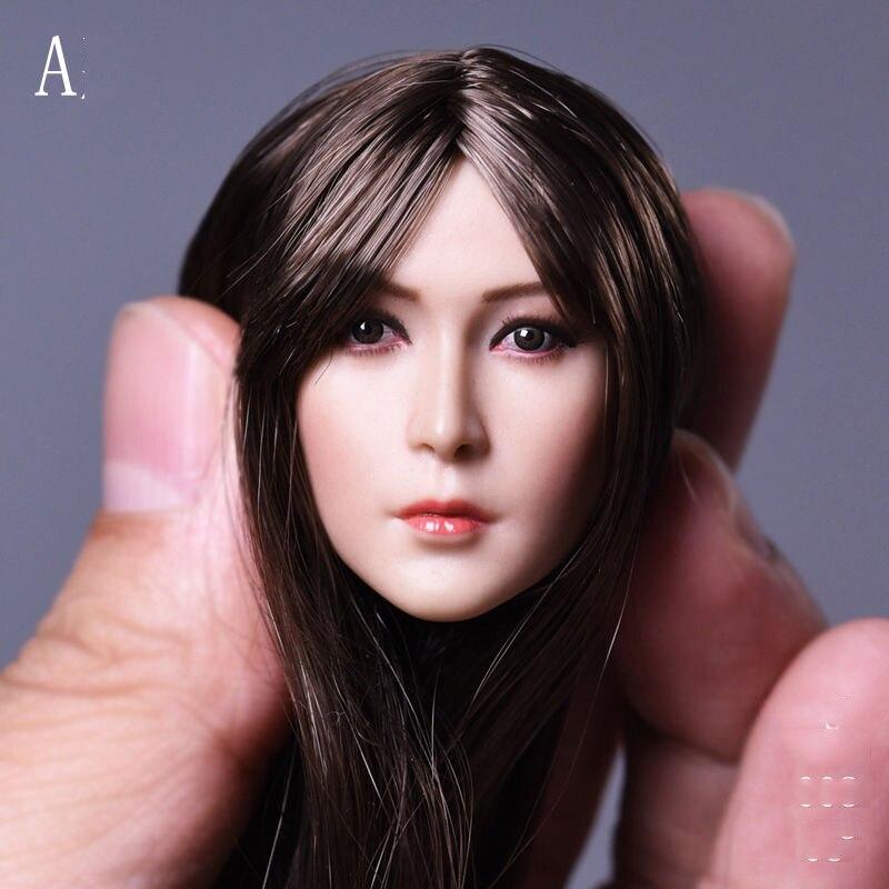 1/6 Scala Asian Beauty Girl Corpi Delle Donne Neri Lisci Lunghi Capelli Testa per 12 ''Figure