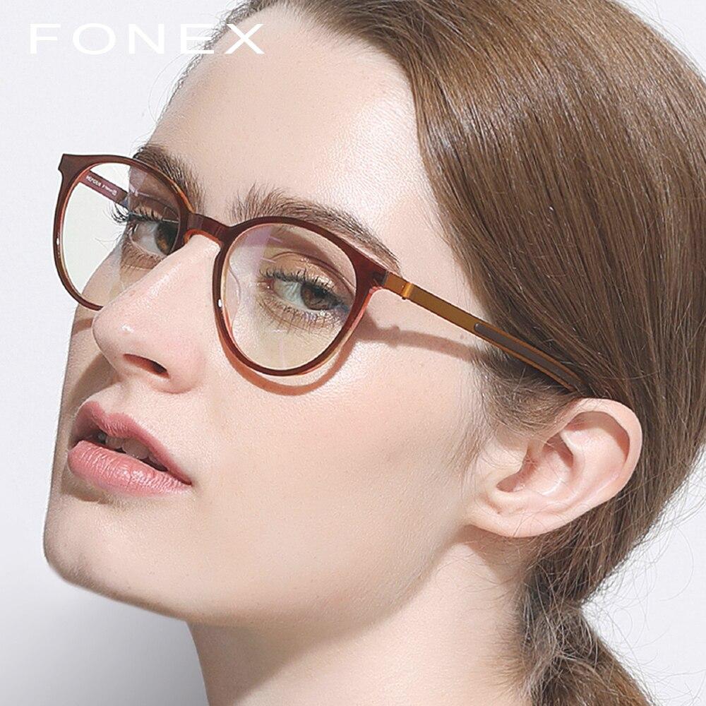B Titânio Puro Óculos de Armação Das Mulheres Dos Homens de Acetato de 2018  Nova Rodada a7747bf7ef