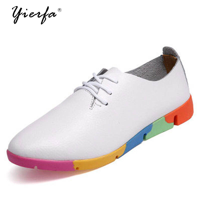 The spring and Autumn New white shoe leather strap female flat shoes pointed deep soft bottom shoes casual student цена