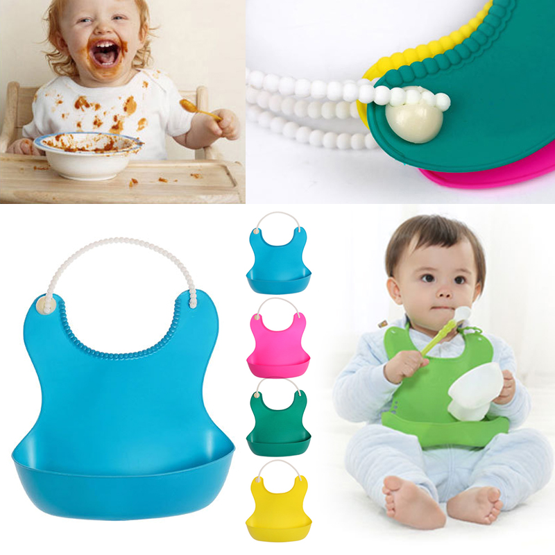 Waterproof High Elastic Bib With Snaps Food Catcher Pocket Soft Convenient Baby Bibs Funny Design Soft Skin-friendly
