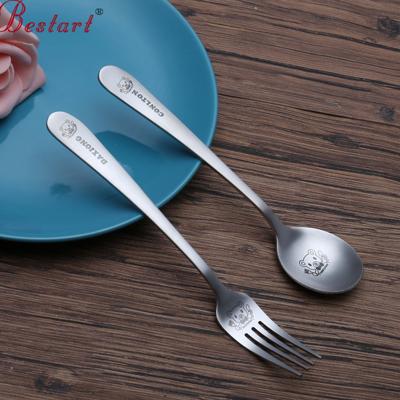 Kids 2pcs lovely spoon fork stainless steel cutlery home for Table utensils