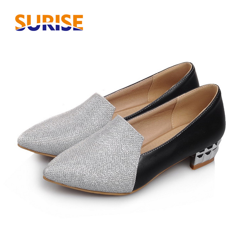1fe90855dce Big Size Casual Women Loafers Low Medium Block Heel Pointed Toe Glitter  Bling PU Leather Office British Gold Slip-on Lady Flats