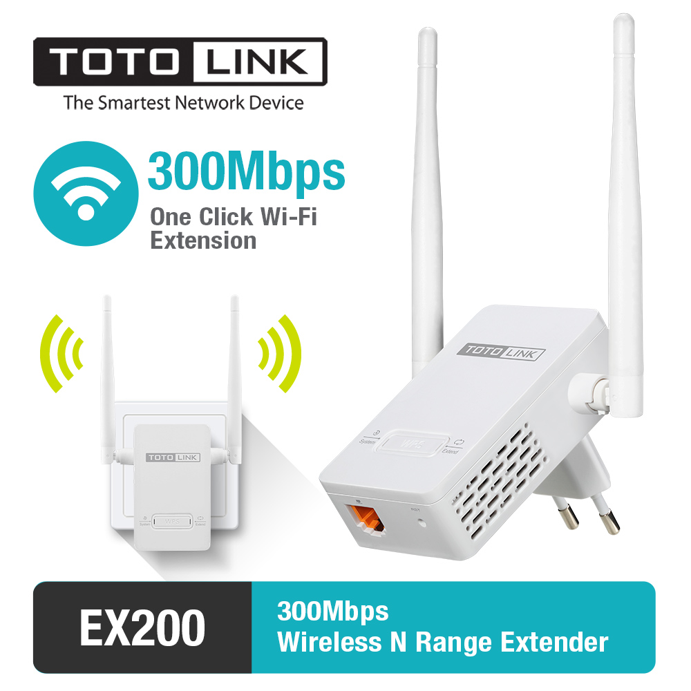 TOTOLINK Wifi Range Extender EX200 300Mbps Wifi Repeater with 2*4dBi External Antennas Wireless Network Amplifier