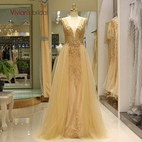 Vivian's Bridal 2018 Sexy Deep V neck Backless Evening Dress Luxury Whole Hand Made Beading Crystal Women Formal Party Dress