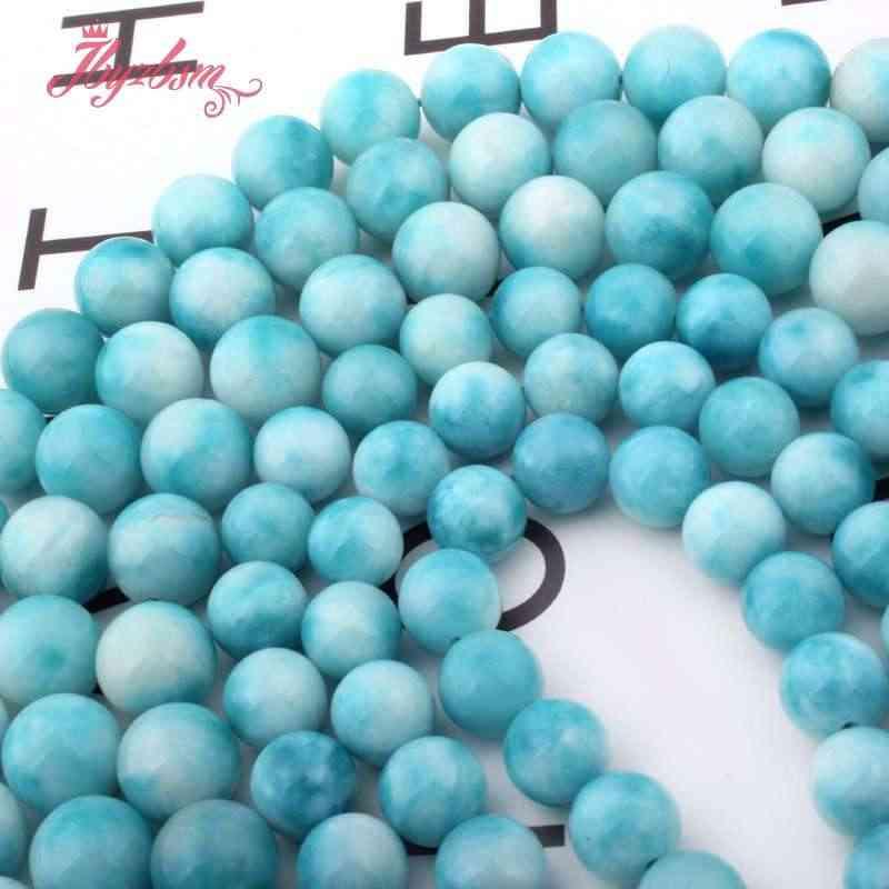 """6.8.10.12.14mm okrągły zielony Larimar Jades kamień Spacer luźne koraliki 15 """"dla naszyjnik bransoletka DIY tworzenia biżuterii darmowa wysyłka"""