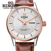 Binger наручные открытый качество товаров бренда автоматические механические часы мужские выдалбливают коричневый кожа водонепроницаемые часы