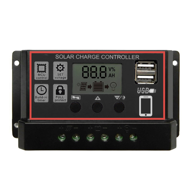 60A/50A/40A/30A/<font><b>20A</b></font>/10A <font><b>12V</b></font>/24V LCD display solar <font><b>charger</b></font> lead acid battery Lithium ion PWM solar charge controller USB 5V image
