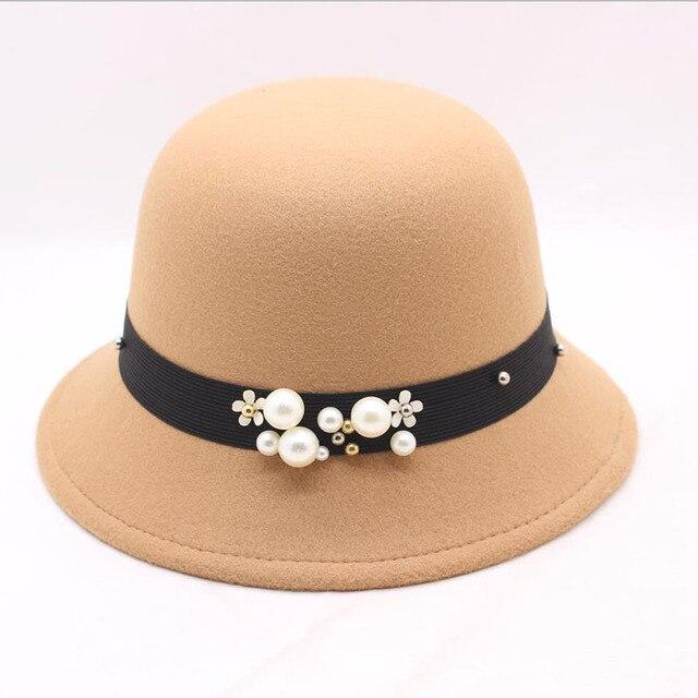 Sombreros sombrero Hiver mujeres señoras sombrero de iglesia para mujer de  fieltro sombrero Bowler tapas elegante 8f83102f306