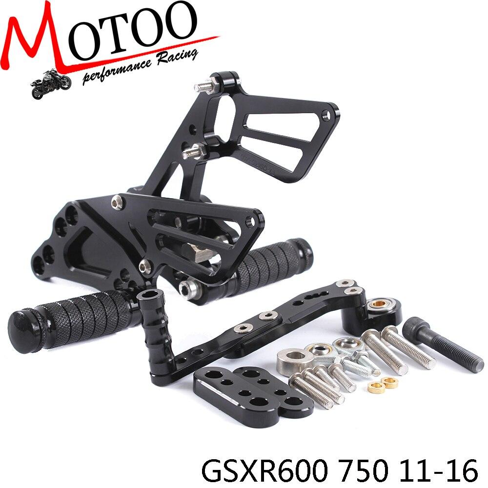 Full CNC Aluminum Motorcycle Adjustable footrest Rearsets Rear Sets Foot Pegs For SUZUKI GSXR600 750 gsxr