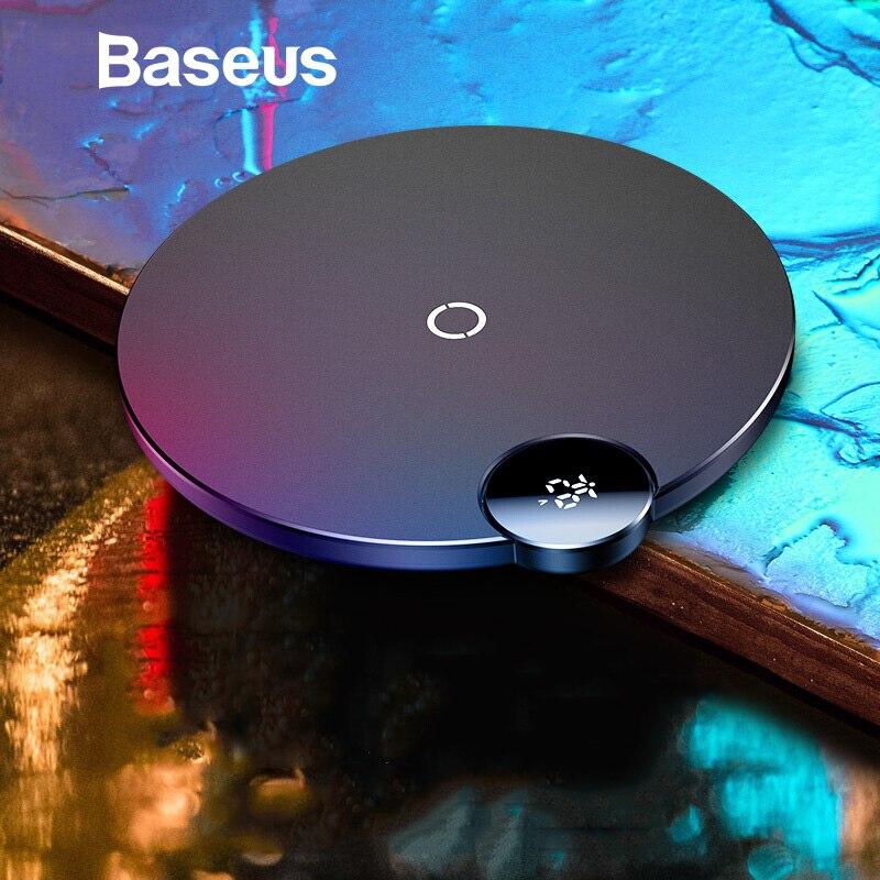 Baseus LED Display Digital Carregador Sem Fio para Samsung Nota 9 S8 Xiao mi mi 9 Qi Almofada de Carregamento Sem Fio para iPhone XS Max XR X 8
